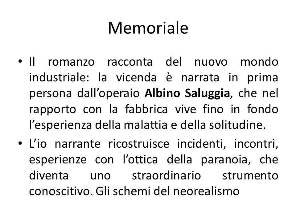 Memoriale Il romanzo racconta del nuovo mondo industriale: la vicenda è narrata in prima persona dalloperaio Albino Saluggia, che nel rapporto con la fabbrica vive fino in fondo lesperienza della malattia e della solitudine.