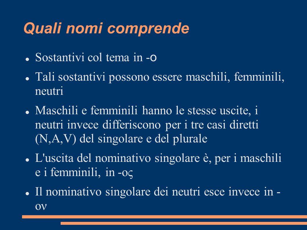 Quali nomi comprende Sostantivi col tema in - o Tali sostantivi possono essere maschili, femminili, neutri Maschili e femminili hanno le stesse uscite