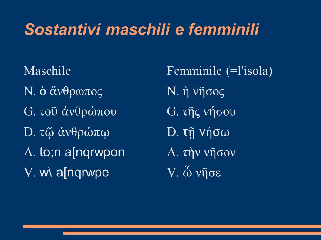 Sostantivi maschili e femminili Maschile N. νθρωπος G. το νθρ που D. τ νθρ π A. to;n a[nqrwpon V. w\ a[nqrwpe Femminile (=l'isola) N. ν σος G. τ ς ν σ