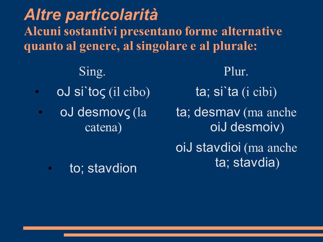 Altre particolarità Alcuni sostantivi presentano forme alternative quanto al genere, al singolare e al plurale: Sing. oJ si`toς (il cibo) oJ desmovς (