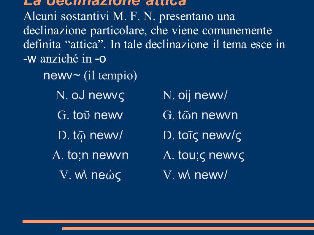 La declinazione attica Alcuni sostantivi M. F. N. presentano una declinazione particolare, che viene comunemente definita attica. In tale declinazione