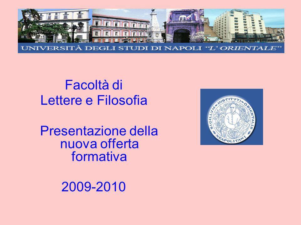 Facoltà di Lettere e Filosofia Presentazione della nuova offerta formativa 2009-2010