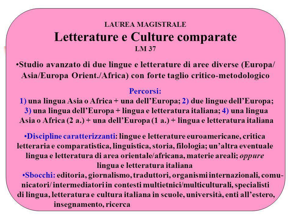 LAUREA MAGISTRALE Letterature e Culture comparate LM 37 Studio avanzato di due lingue e letterature di aree diverse (Europa/ Asia/Europa Orient./Afric