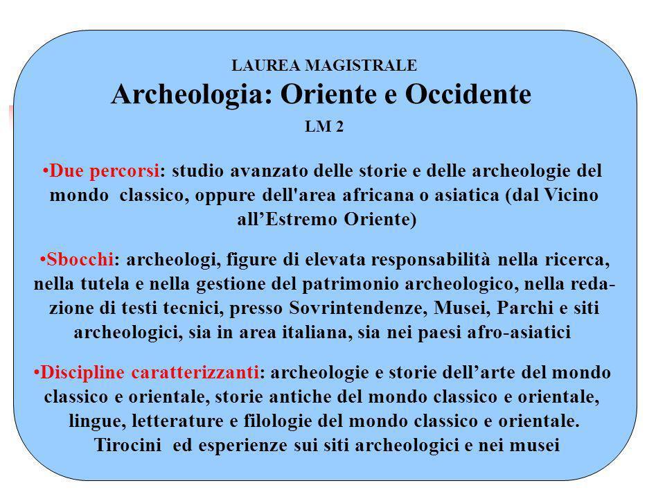 LAUREA MAGISTRALE Archeologia: Oriente e Occidente LM 2 Due percorsi: studio avanzato delle storie e delle archeologie del mondo classico, oppure dell