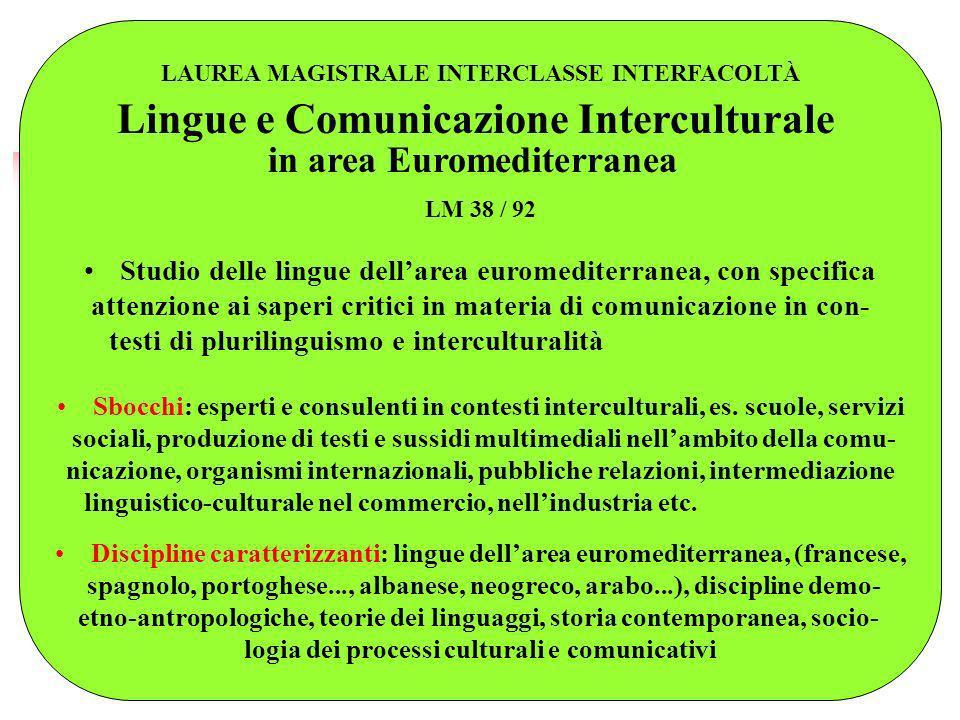LAUREA MAGISTRALE INTERCLASSE INTERFACOLTÀ Lingue e Comunicazione Interculturale in area Euromediterranea LM 38 / 92 Studio delle lingue dellarea euro