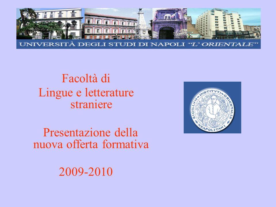 Facoltà di Lingue e letterature straniere Presentazione della nuova offerta formativa 2009-2010