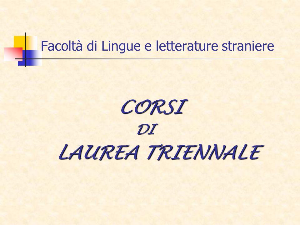 Facoltà di Lingue e letterature straniere CORSI DI DI LAUREA TRIENNALE