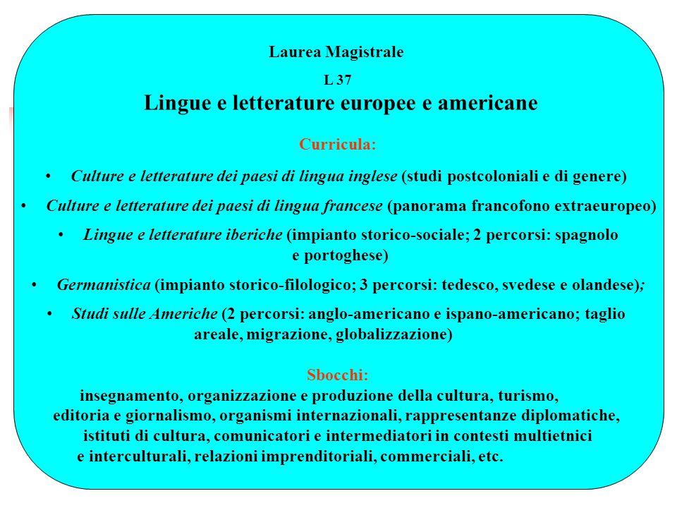 Laurea Magistrale L 37 Lingue e letterature europee e americane Curricula: Culture e letterature dei paesi di lingua inglese (studi postcoloniali e di