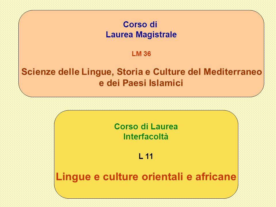 Corso di Laurea Interfacoltà L 11 Lingue e culture orientali e africane Corso di Laurea Magistrale LM 36 Scienze delle Lingue, Storia e Culture del Me
