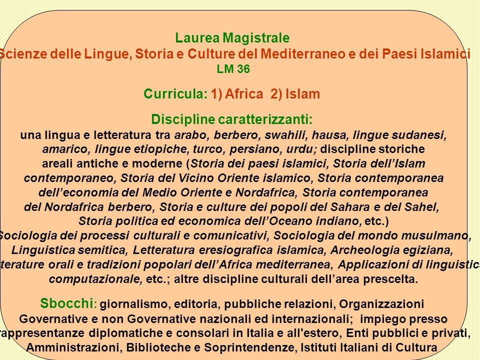 Laurea Magistrale Scienze delle Lingue, Storia e Culture del Mediterraneo e dei Paesi Islamici LM 36 Curricula: 1) Africa 2) Islam Discipline caratter