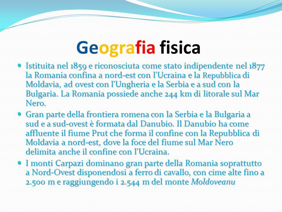Geografia fisica Istituita nel 1859 e riconosciuta come stato indipendente nel 1877 la Romania confina a nord-est con l'Ucraina e la Repubblica di Mol