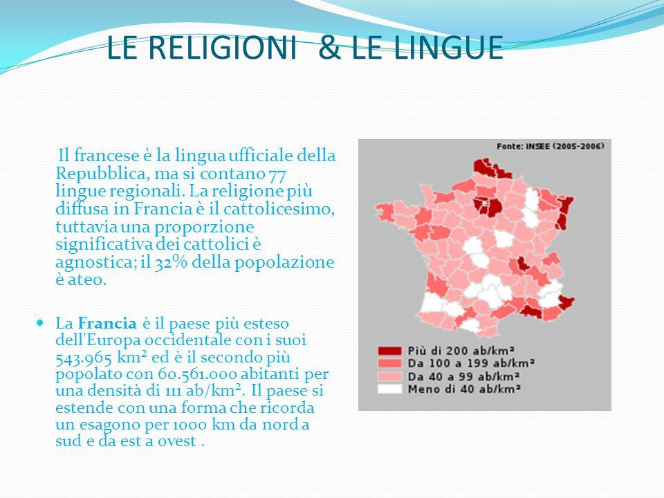 LE RELIGIONI & LE LINGUE Il francese è la lingua ufficiale della Repubblica, ma si contano 77 lingue regionali. La religione più diffusa in Francia è