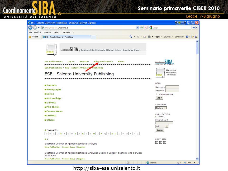 Seminario primaverile CIBER 2010 Lecce, 7-8 giugno http://siba-ese.unisalento.it