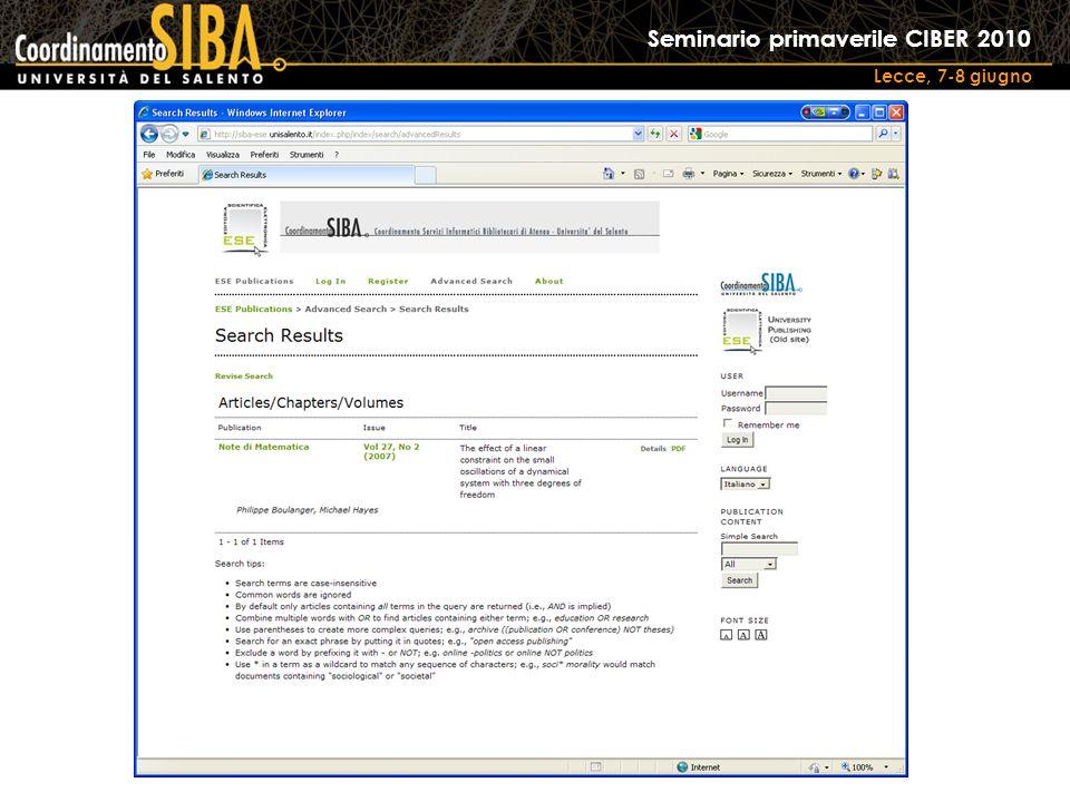 Seminario primaverile CIBER 2010 Lecce, 7-8 giugno