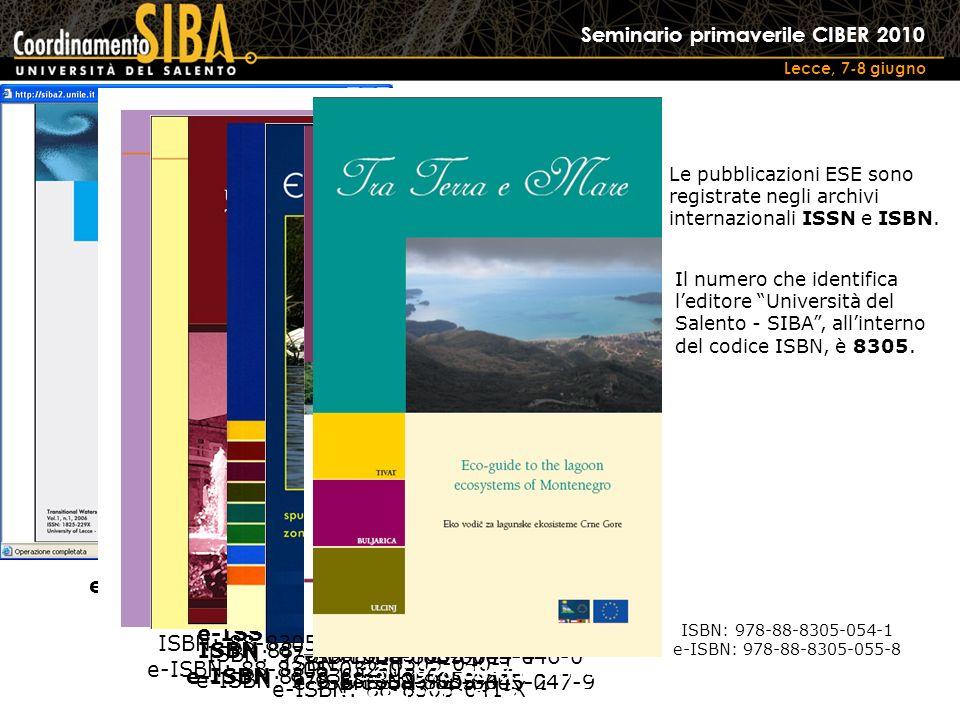 Seminario primaverile CIBER 2010 Lecce, 7-8 giugno Le pubblicazioni ESE sono registrate negli archivi internazionali ISSN e ISBN.