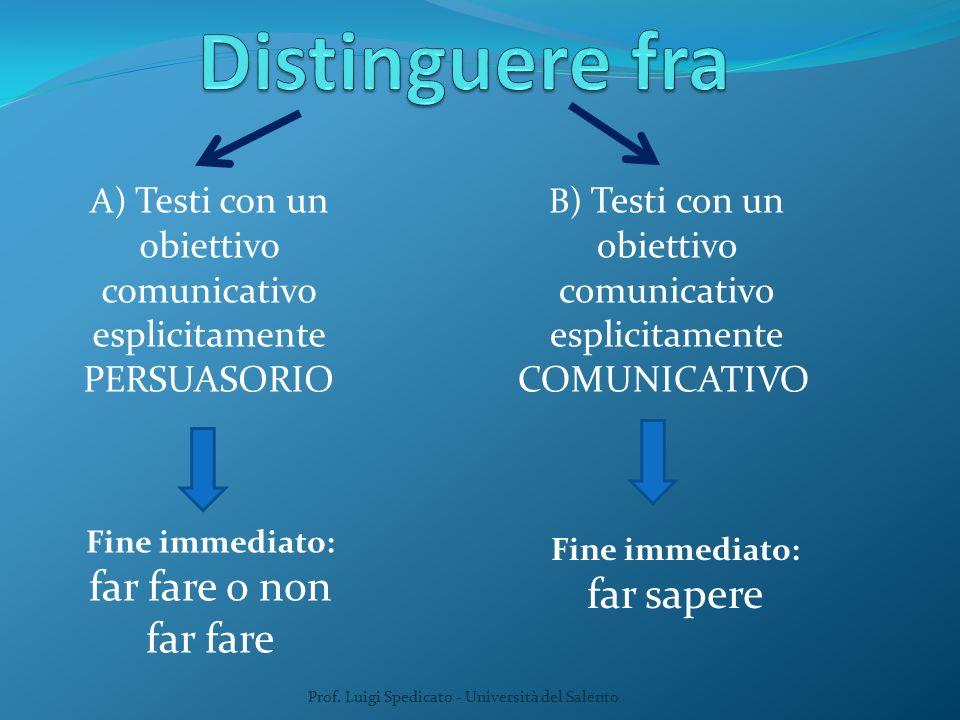 A) Testi con un obiettivo comunicativo esplicitamente PERSUASORIO Prof. Luigi Spedicato - Università del Salento Fine immediato: far fare o non far fa
