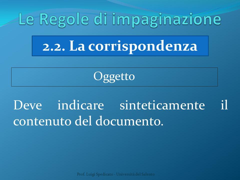 Prof. Luigi Spedicato - Università del Salento 2.2. La corrispondenza Deve indicare sinteticamente il contenuto del documento. Oggetto