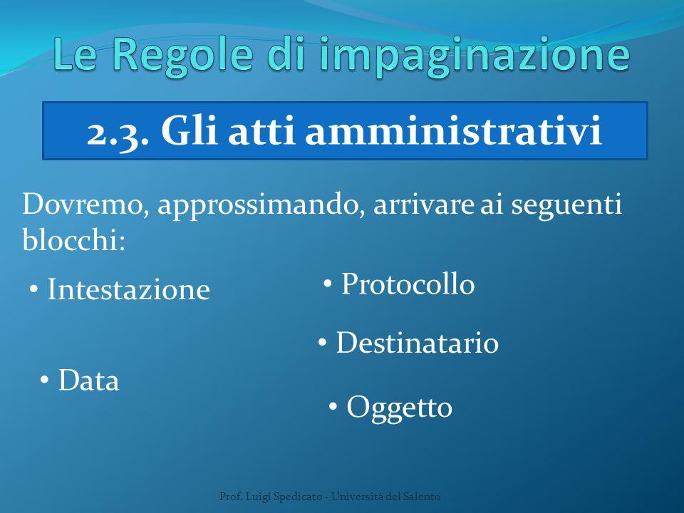 Prof. Luigi Spedicato - Università del Salento 2.3. Gli atti amministrativi Dovremo, approssimando, arrivare ai seguenti blocchi: Intestazione Data Pr