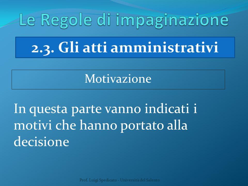 Prof. Luigi Spedicato - Università del Salento In questa parte vanno indicati i motivi che hanno portato alla decisione Motivazione 2.3. Gli atti ammi
