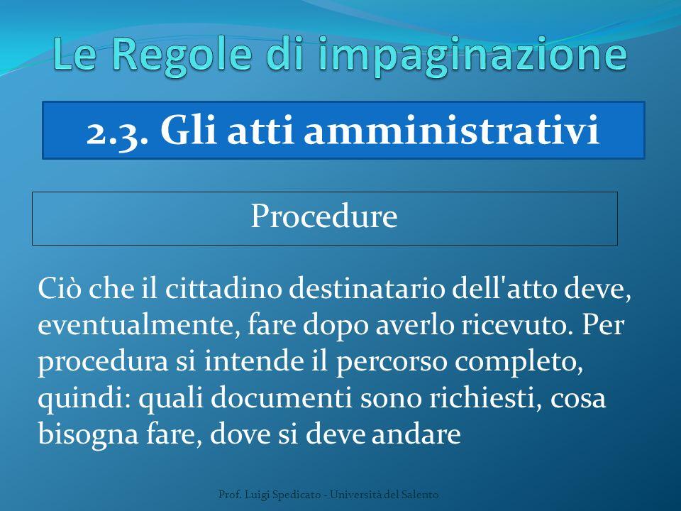 Prof. Luigi Spedicato - Università del Salento Ciò che il cittadino destinatario dell'atto deve, eventualmente, fare dopo averlo ricevuto. Per procedu