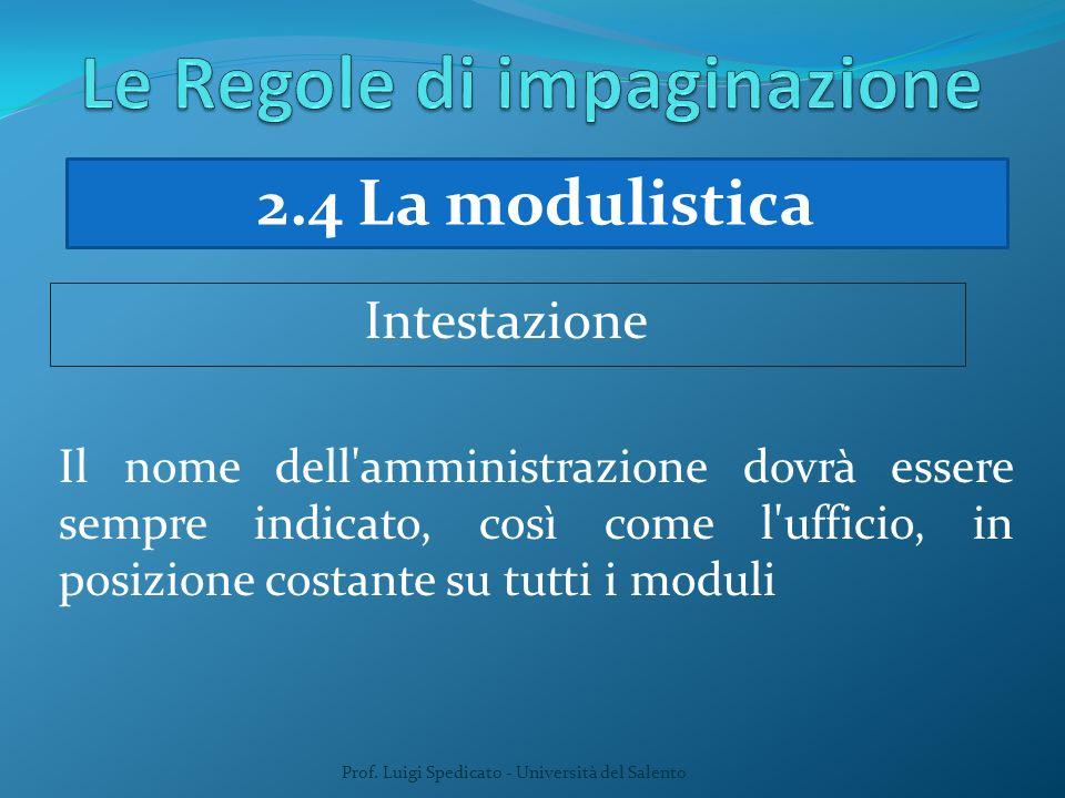 Prof. Luigi Spedicato - Università del Salento Il nome dell'amministrazione dovrà essere sempre indicato, così come l'ufficio, in posizione costante s