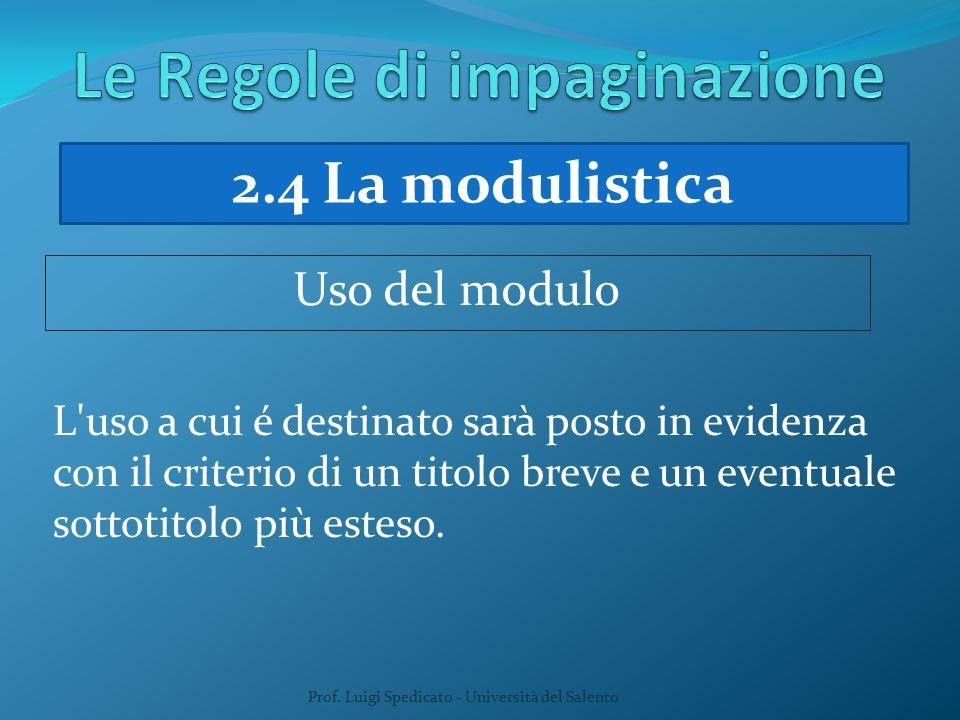 Prof. Luigi Spedicato - Università del Salento L'uso a cui é destinato sarà posto in evidenza con il criterio di un titolo breve e un eventuale sottot