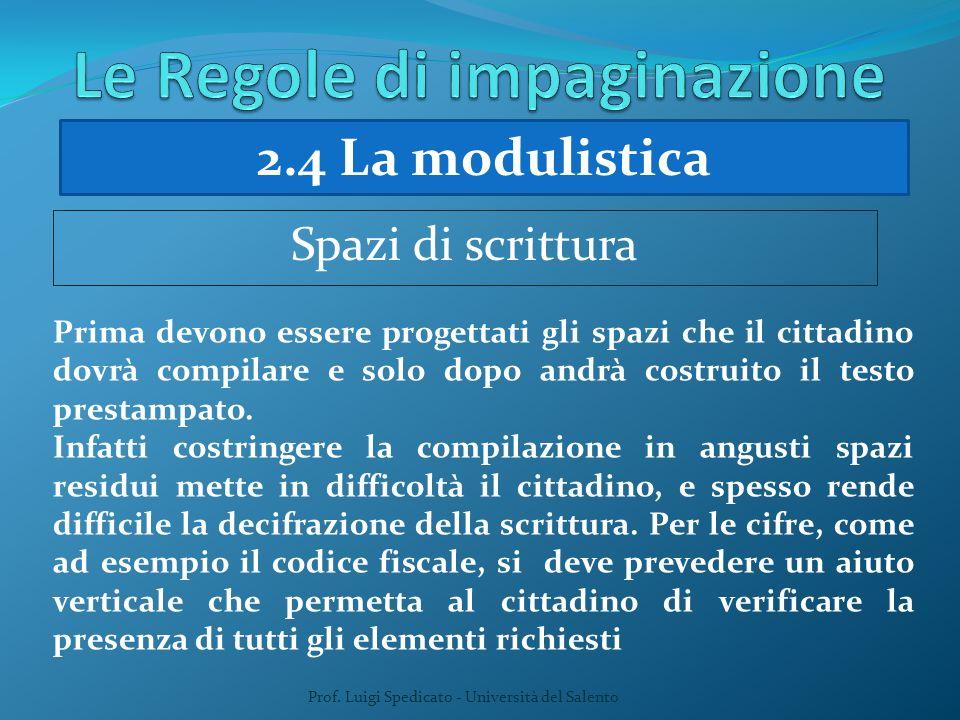 Prof. Luigi Spedicato - Università del Salento Prima devono essere progettati gli spazi che il cittadino dovrà compilare e solo dopo andrà costruito i