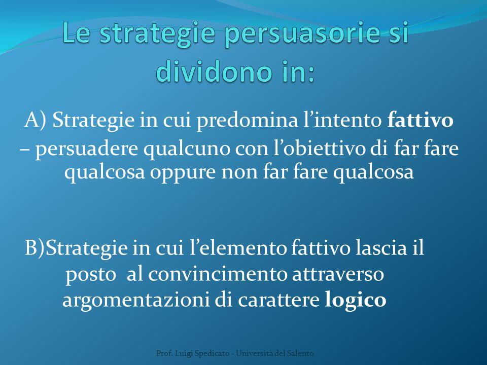 A) Strategie in cui predomina lintento fattivo – persuadere qualcuno con lobiettivo di far fare qualcosa oppure non far fare qualcosa B)Strategie in c