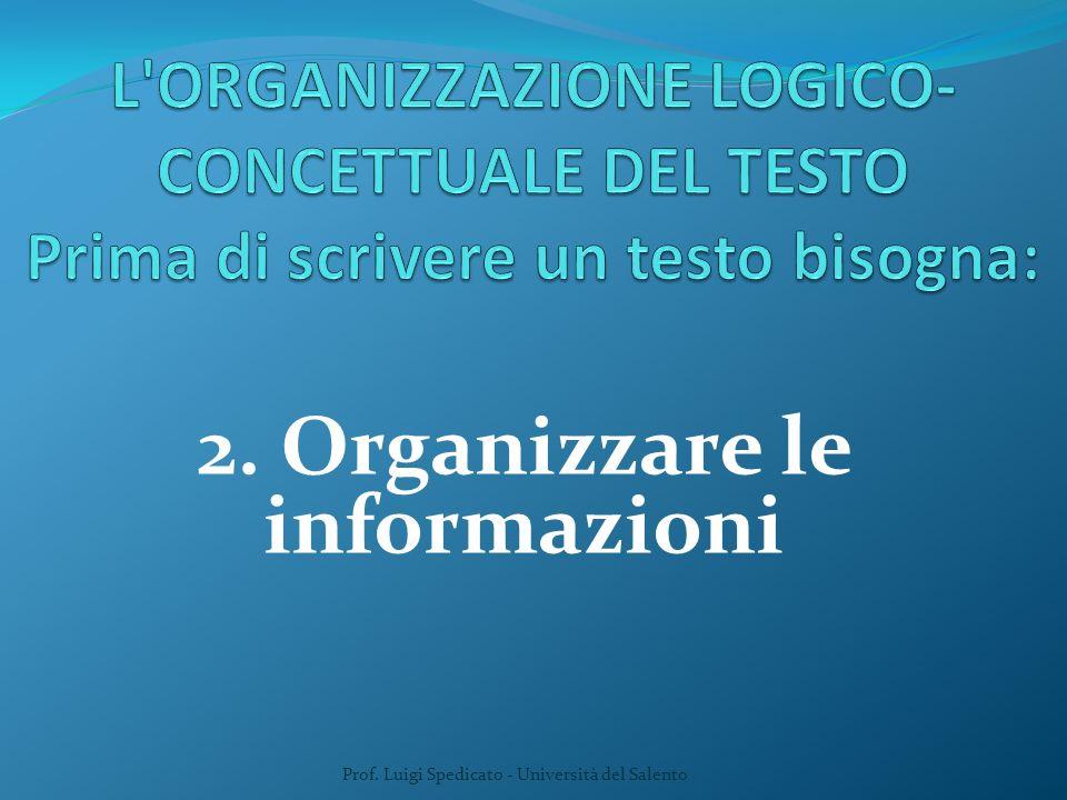 2. Organizzare le informazioni Prof. Luigi Spedicato - Università del Salento