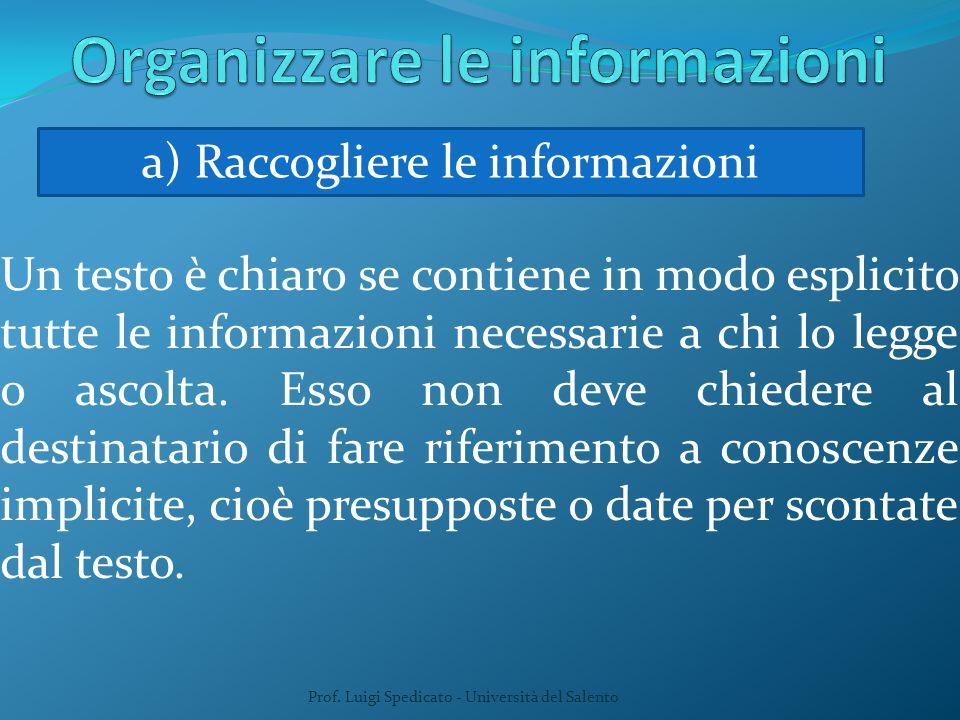 Un testo è chiaro se contiene in modo esplicito tutte le informazioni necessarie a chi lo legge o ascolta. Esso non deve chiedere al destinatario di f