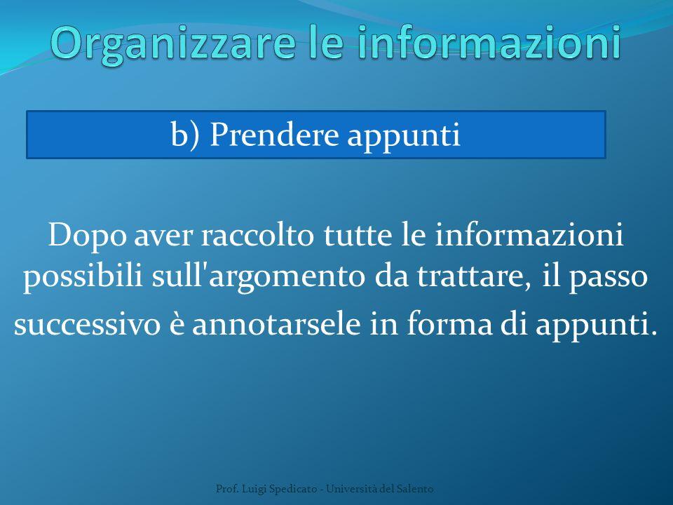Dopo aver raccolto tutte le informazioni possibili sull'argomento da trattare, il passo successivo è annotarsele in forma di appunti. Prof. Luigi Sped