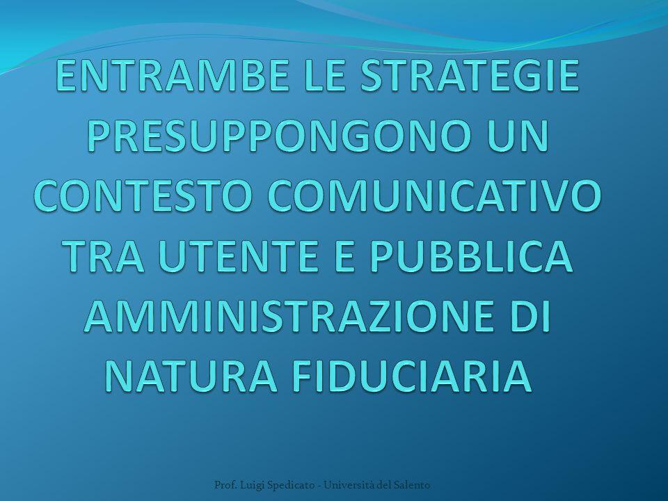 A) la strategia della complicità B) la strategia della distanza Prof.