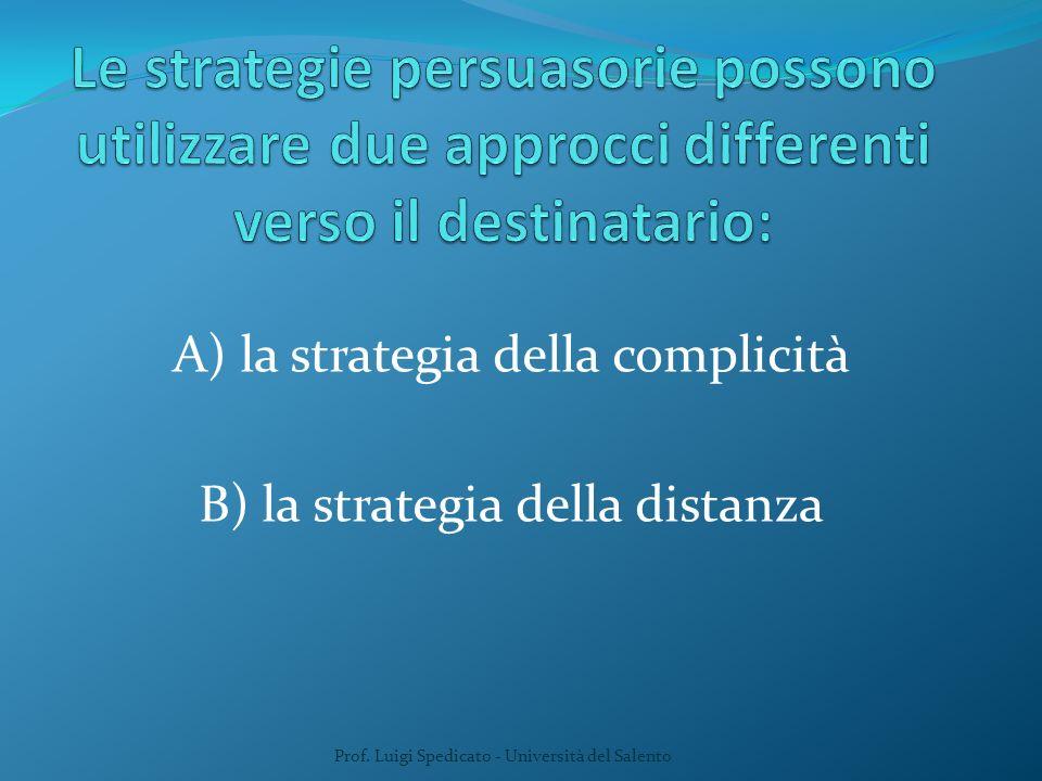 A) la strategia della complicità B) la strategia della distanza Prof. Luigi Spedicato - Università del Salento