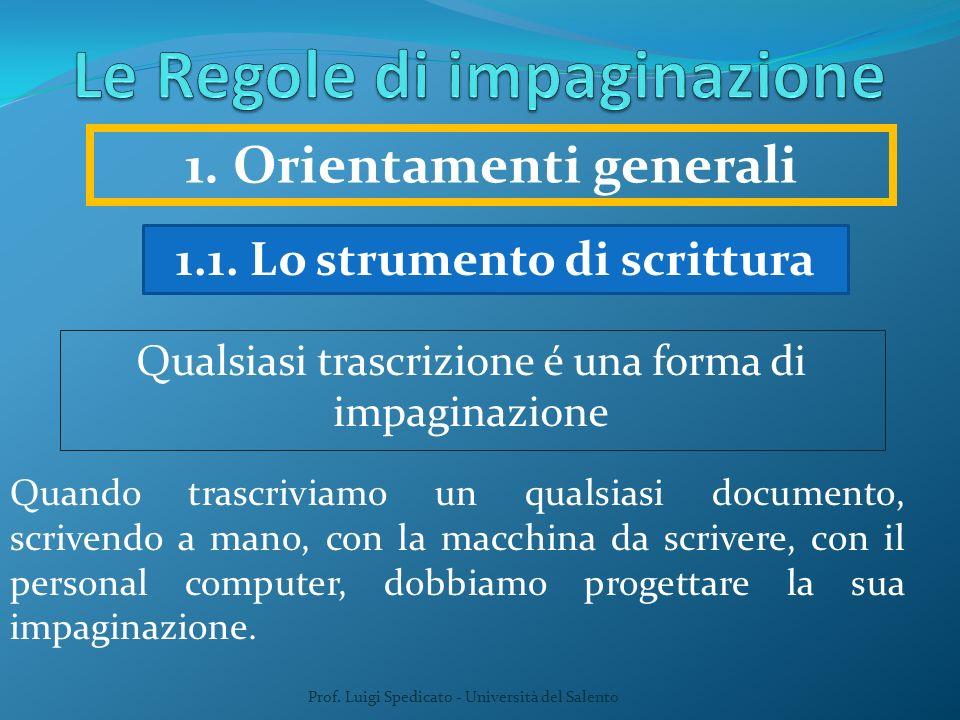 Prof. Luigi Spedicato - Università del Salento 1.1. Lo strumento di scrittura Qualsiasi trascrizione é una forma di impaginazione Quando trascriviamo