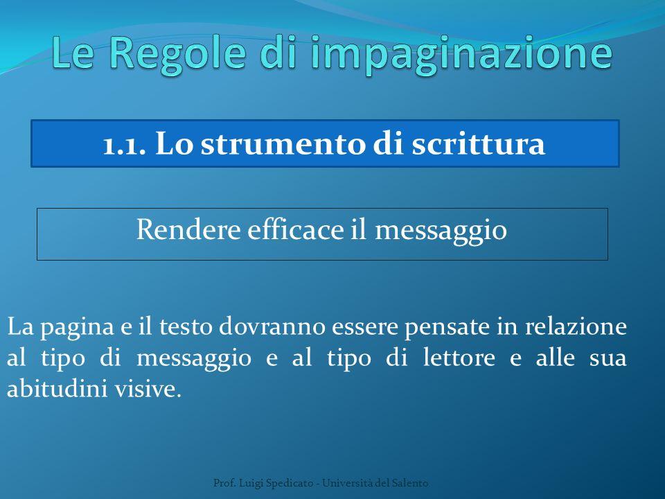 Prof. Luigi Spedicato - Università del Salento 1.1. Lo strumento di scrittura Rendere efficace il messaggio La pagina e il testo dovranno essere pensa