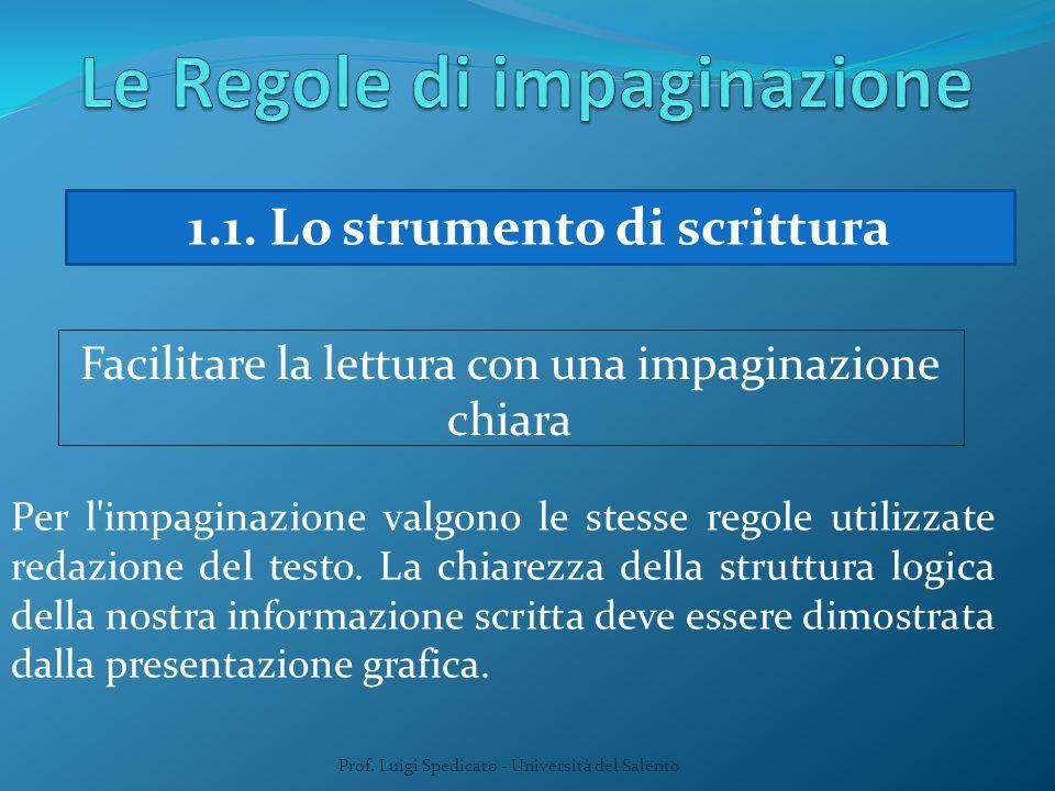 Prof. Luigi Spedicato - Università del Salento 1.1. Lo strumento di scrittura Facilitare la lettura con una impaginazione chiara Per l'impaginazione v