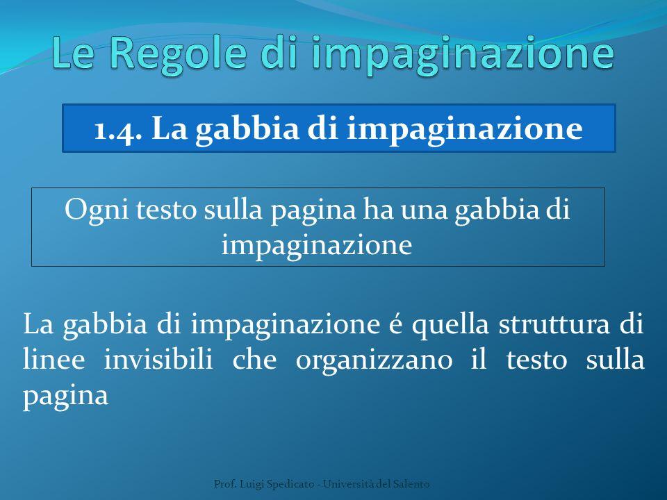 Prof. Luigi Spedicato - Università del Salento 1.4. La gabbia di impaginazione Ogni testo sulla pagina ha una gabbia di impaginazione La gabbia di imp