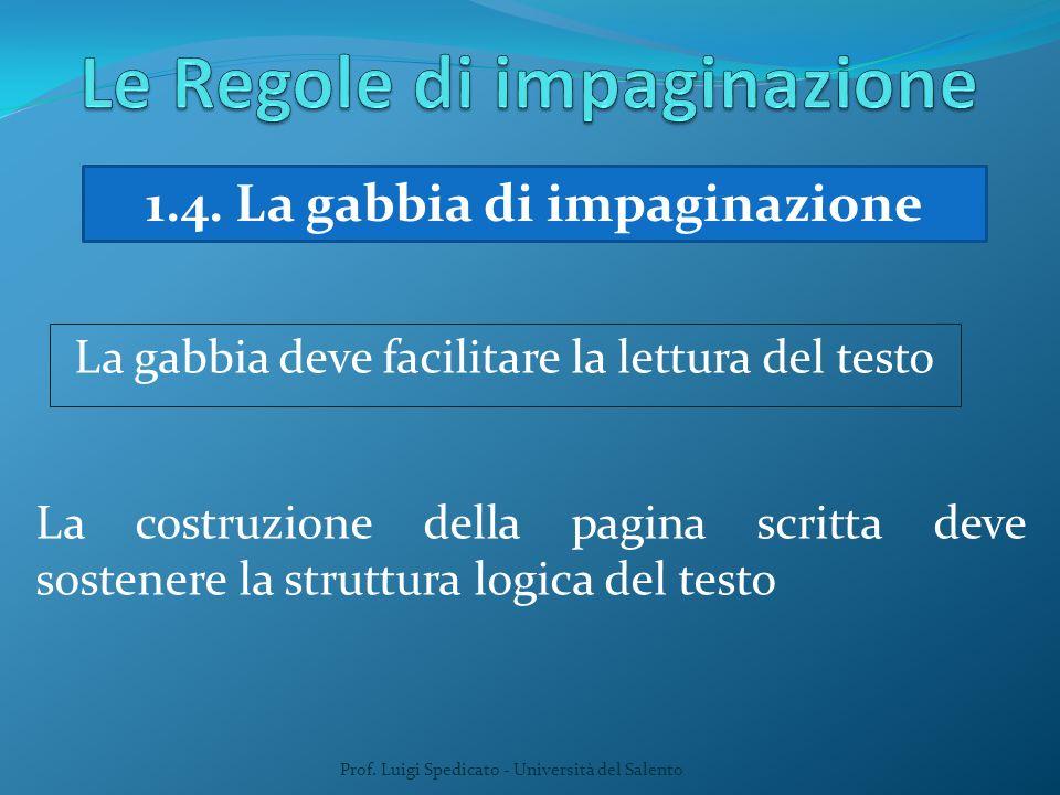 Prof. Luigi Spedicato - Università del Salento 1.4. La gabbia di impaginazione La gabbia deve facilitare la lettura del testo La costruzione della pag