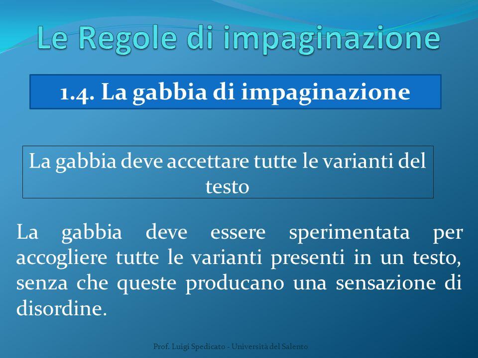 Prof. Luigi Spedicato - Università del Salento 1.4. La gabbia di impaginazione La gabbia deve accettare tutte le varianti del testo La gabbia deve ess
