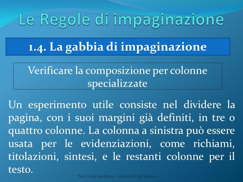 Prof. Luigi Spedicato - Università del Salento 1.4. La gabbia di impaginazione Verificare la composizione per colonne specializzate Un esperimento uti