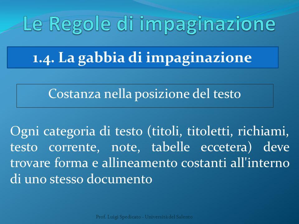 Prof. Luigi Spedicato - Università del Salento 1.4. La gabbia di impaginazione Costanza nella posizione del testo Ogni categoria di testo (titoli, tit