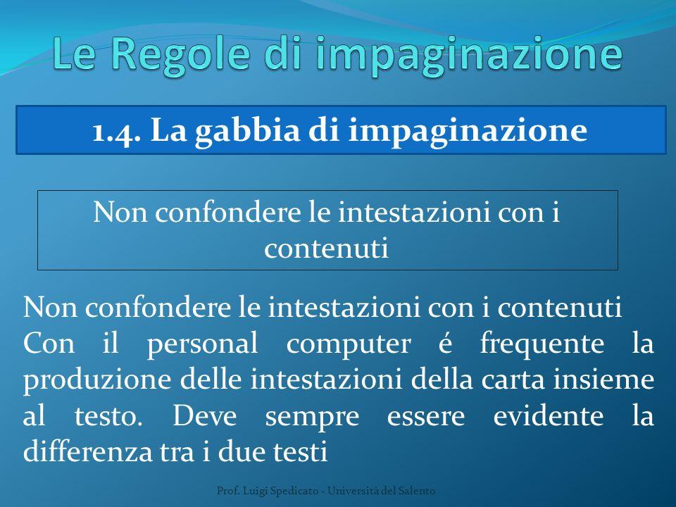 Prof. Luigi Spedicato - Università del Salento 1.4. La gabbia di impaginazione Non confondere le intestazioni con i contenuti Con il personal computer