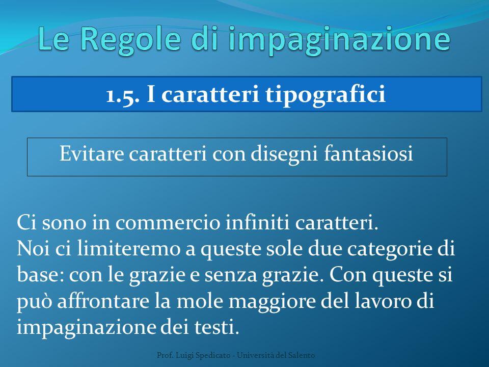 Prof. Luigi Spedicato - Università del Salento 1.5. I caratteri tipografici Evitare caratteri con disegni fantasiosi Ci sono in commercio infiniti car