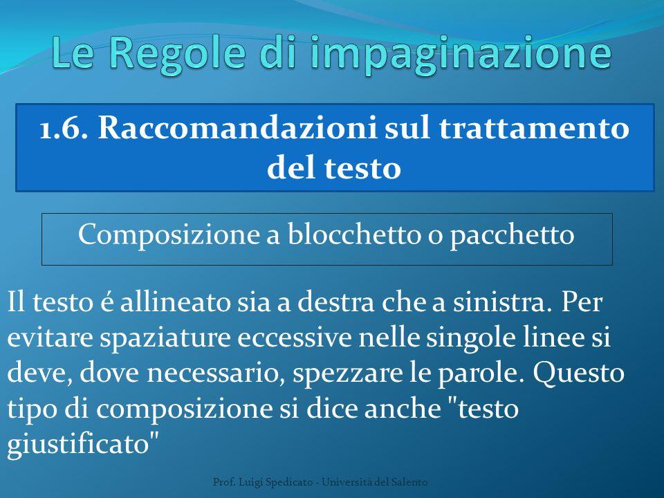 Prof. Luigi Spedicato - Università del Salento 1.6. Raccomandazioni sul trattamento del testo Composizione a blocchetto o pacchetto Il testo é allinea