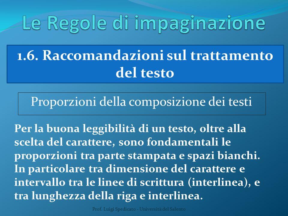 Prof. Luigi Spedicato - Università del Salento 1.6. Raccomandazioni sul trattamento del testo Proporzioni della composizione dei testi Per la buona le