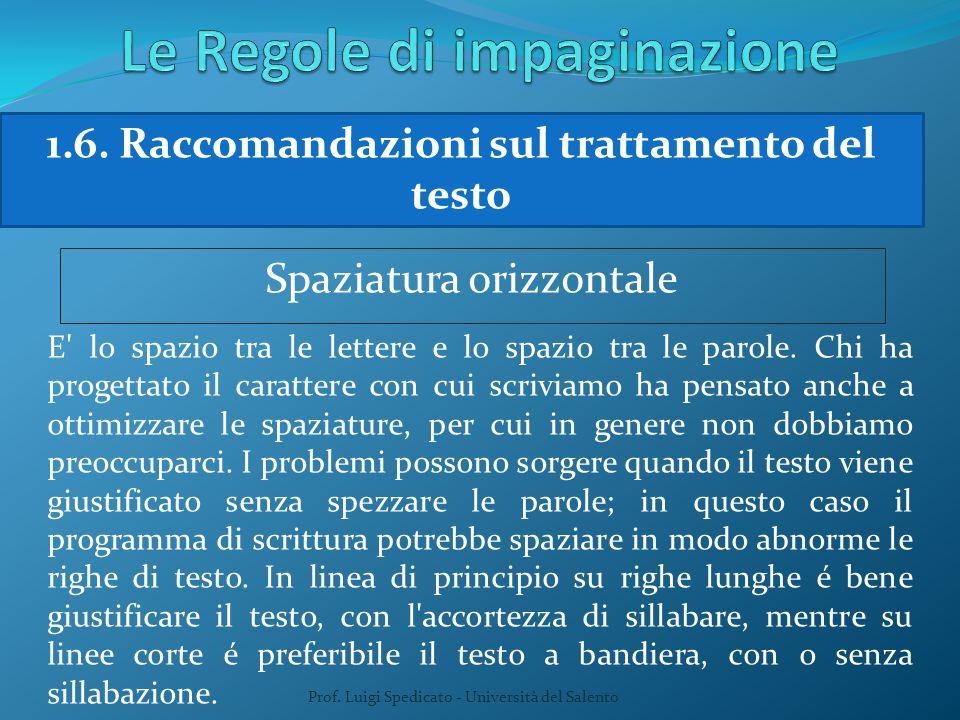 Prof. Luigi Spedicato - Università del Salento 1.6. Raccomandazioni sul trattamento del testo Spaziatura orizzontale E' lo spazio tra le lettere e lo