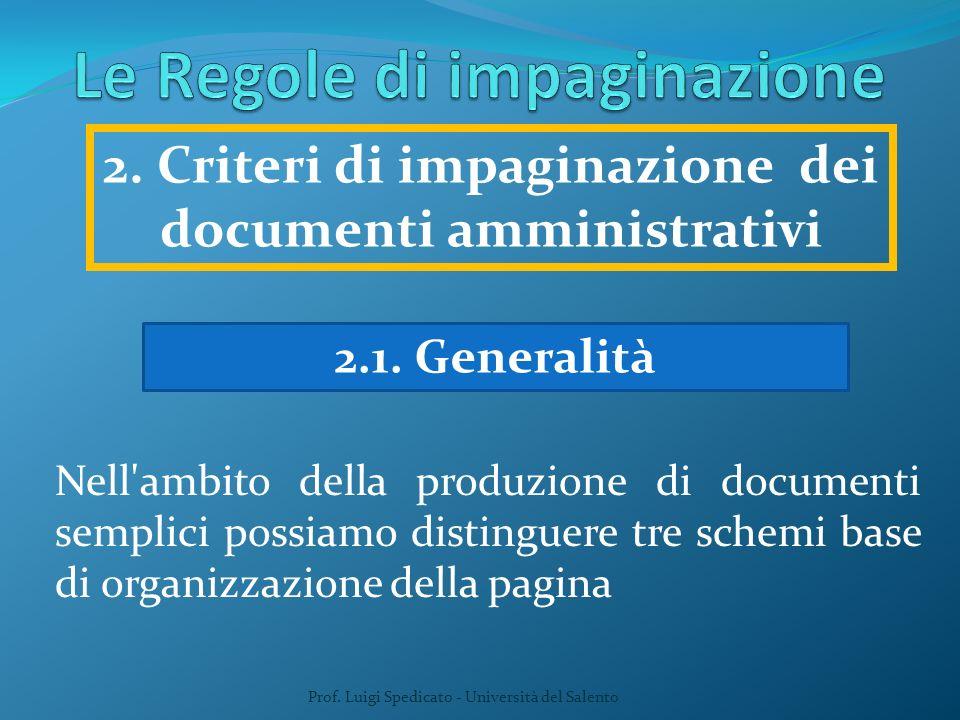 Prof. Luigi Spedicato - Università del Salento 2.1. Generalità Nell'ambito della produzione di documenti semplici possiamo distinguere tre schemi base