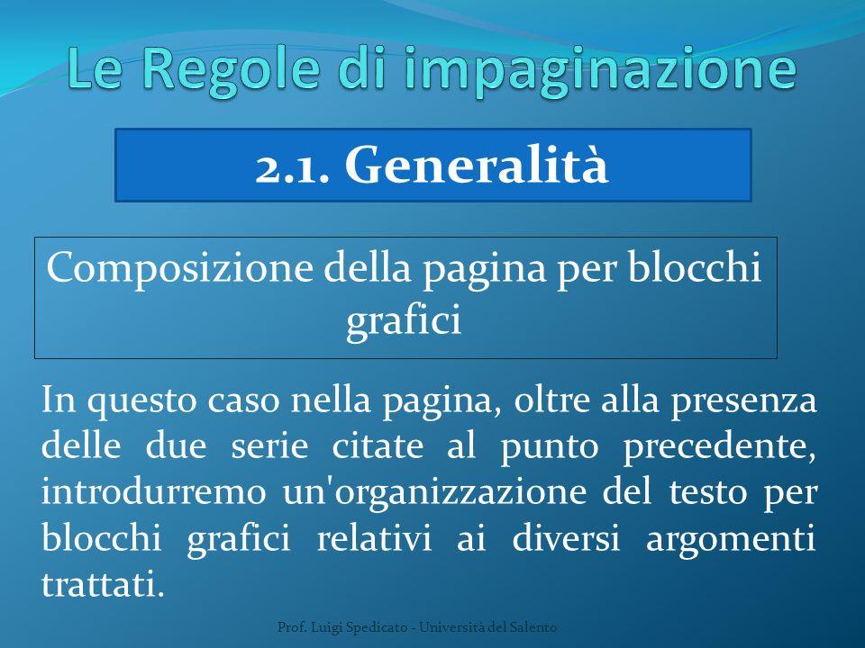 Prof. Luigi Spedicato - Università del Salento 2.1. Generalità Composizione della pagina per blocchi grafici In questo caso nella pagina, oltre alla p