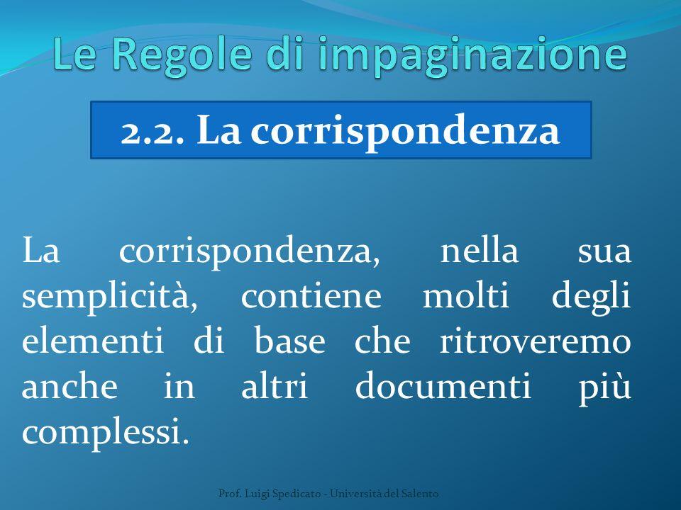 Prof. Luigi Spedicato - Università del Salento 2.2. La corrispondenza La corrispondenza, nella sua semplicità, contiene molti degli elementi di base c