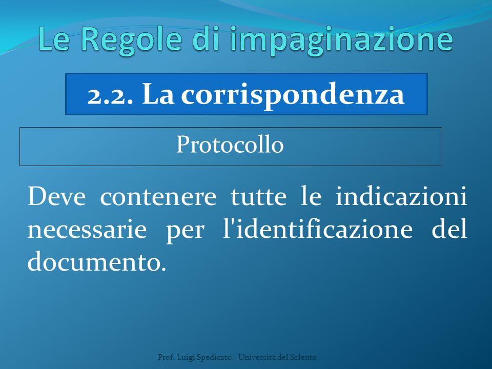 Prof. Luigi Spedicato - Università del Salento 2.2. La corrispondenza Deve contenere tutte le indicazioni necessarie per l'identificazione del documen